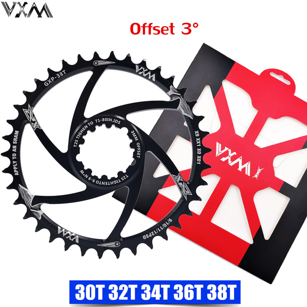 VXM MTB Bike Chainwheel Narrow Wide Bicycle 30T/32T/34T/36T/38T Chainring for Sram 8/9/10/11/12S NX XX XO GX GXP11 X1 Offset 3MM image