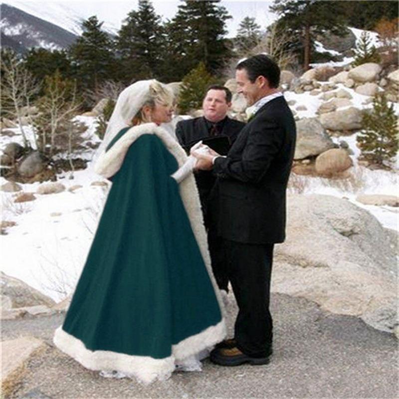 Winter Bridal Wedding Cloak Cape Hooded with Fur Trim Long Hooded Cloak Shawl