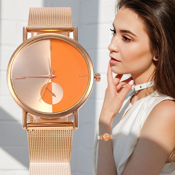 цена на Contrast Color Dial Women Quartz Watch Detachable Stainless Steel Mesh With Three Hands Analog Display Fashion Ultra-thin Watch
