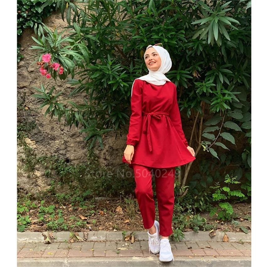 New 2Pcs Muslim Dress Traditional Clothing Abaya For Women Male Dubai Turkish Fashion Elegant Solid Color Ladies Long Sleeve Set