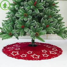 цены Christmas Tree Skirt 100cm Star Pattern Felt Print Non-Woven Christmas Tree Base Decoration Apron Wrap