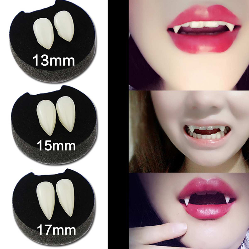 Natural 13/15/17/19mm Halloween Party Cosplay Vampire Fake Teeth Resin with Glue Masquerade Cosplay Makeup Funny Dentures Tools