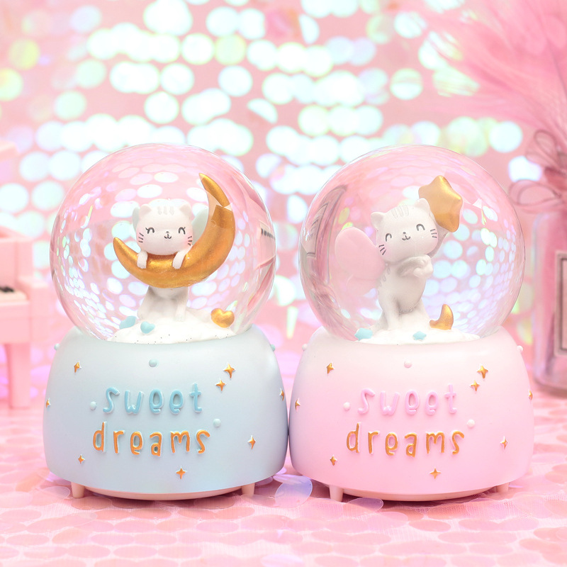 10*15.8cm kitten Crystal Snow Globes <font><b>Glass</b></font> Music Box <font><b>snowball</b></font> Home Office INterior Decoration Christmas Valentine's Day Gifts image