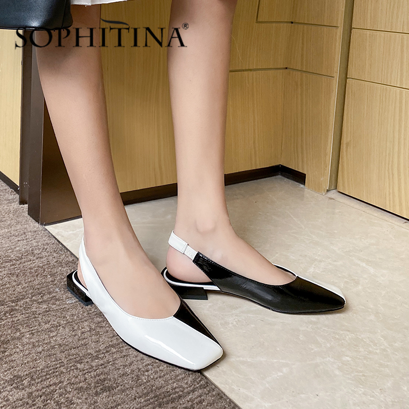 SOPHITINA Elegant Low Heel Women Slingbacks Square Toe Mixed Colors  Atmosphere Office Casual Cow Leather Shoes Women PO574
