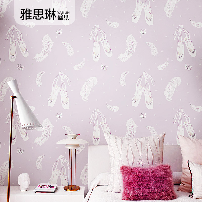 papier-peint-coreen-rose-chaud-de-bonne-qualite-chaussures-de-font-b-ballet-b-font-de-chambre-de-filles-plume-papillon-arriere-plan-de-chambre-d'enfants