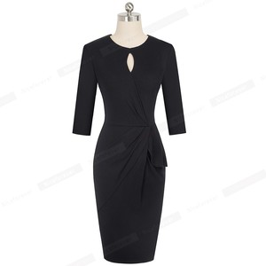 Image 4 - Nice forever Vintage Elegant Pure Color with Keyhole Ruffle vestidos Business Party Bodycon Office Women Dress B540
