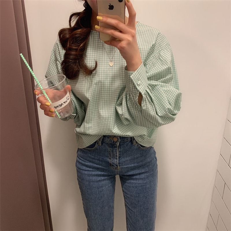 Alien Kitty 2020 Chic Plaid Loose Gentle Geometric Full Sleeves Pullovers Tops Leisure New All Match OL Casual Streetwear Shirts