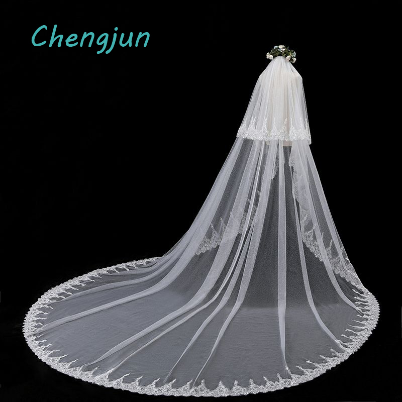 Chengjun Romantic 3.5 Meters Wedding Veils Long Ivory Sequin Tulle Lace Cathedral Wedding Veil Vintage Bridal Accessories