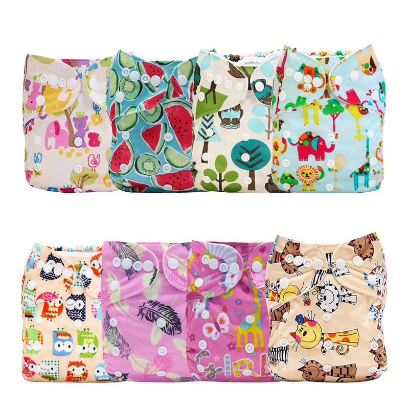 [Mumsbest] 8PCS/Pack Reusable Pocke Baby Printed Cloth Diaper Wholesale Price T Breathable Nappy Cover Diaper Sent Random Color
