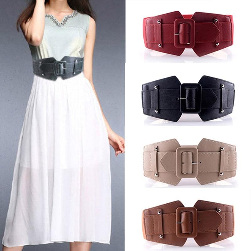 Ultra Wide Women Belt For Dresses Ladies Big Metal Circle Ring Cummerbund Waist Strap Black Elastic Female Belt Leather