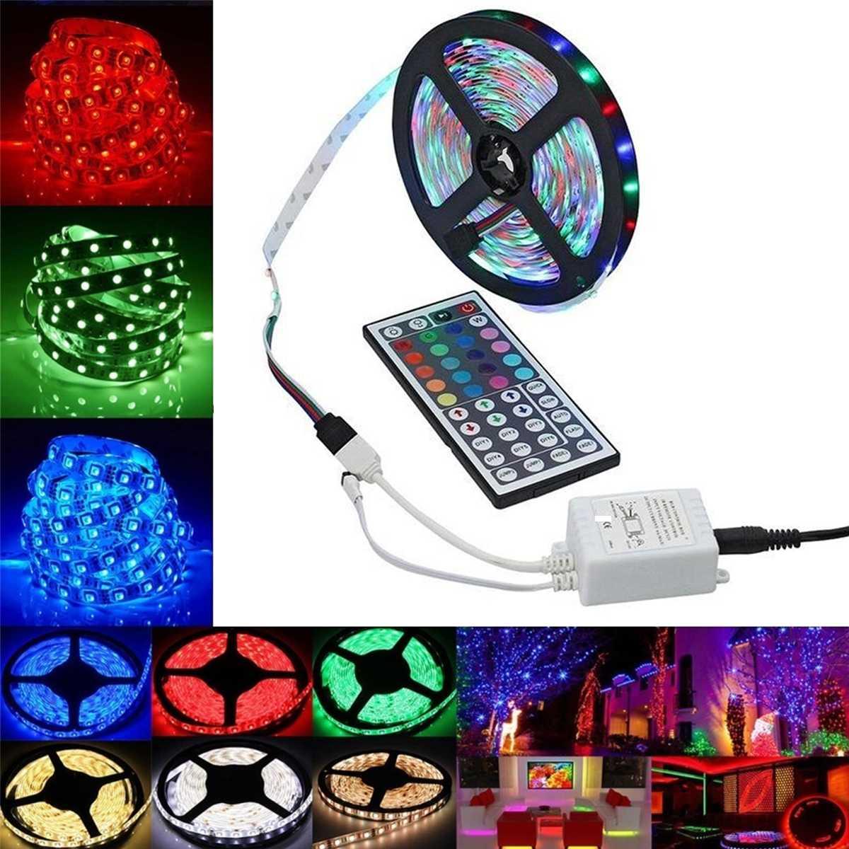 RGB LED Light Strip Red Green Blue 12V SMD3528 4m/6m/8m Ribbon LED Strip Tape Backlight For TV PC With US UK EU Plug IR 44Key