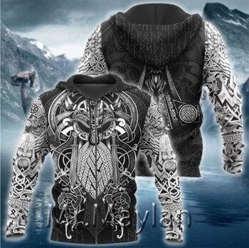 Viking Odin Best Viking Tattoo 3D Hoodies Men/women Hipster Streetwear Outfit Spring Boys Hiphop Hood Sweatshirts Tops Clothes-9 2
