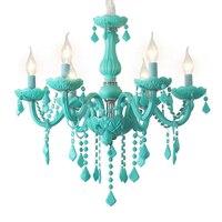 Nordic Macaron children's room lamp girl princess chandelier pink crystal bedroom chandelier color glass crystals for chandelier