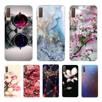 Case For Samsung Galaxy A7 2018 Summer Flowers Cartoon Printing Soft TPU Phone Cover For Samsng A750 A750F Fundas Coque 6.0inch image