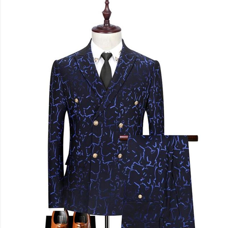 Double Breasted Men's Suit Three-Piece Groom Formal Business Casual Wedding Party Slim Dress Suit (Jacket + Pants + Vest)