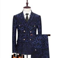 Double Breasted Men's Suit Three Piece Groom Formal Business Casual Wedding Party Slim Dress Suit (Jacket + Pants + Vest)