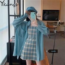 Summer Blue 2pcs Set Vintage Plaid Sling Mini Dress + Shirt Single-Breasted Pocket Sunscreen BF Oversized Long Coat Women Suit