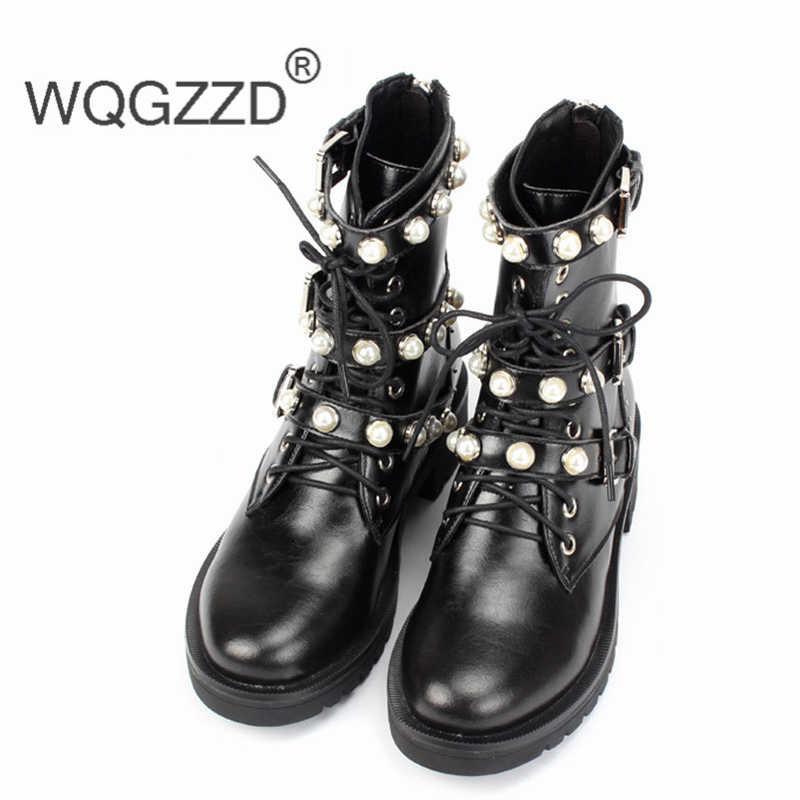cuir d'hiver perle 2019 femmes Botas de marque 35 40 européenne véritable luxe en taille moto femmes chaussures Mujer bottes MSpjzLGqVU
