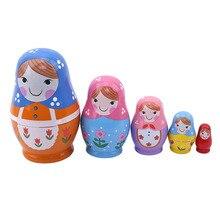 5 stück Handgemachte Mädchen Russische Babuschka Matryoshka Gute Qualität Puppen Kit Hause Dekoration Kinder Geburtstag Geschenk Geburtstag