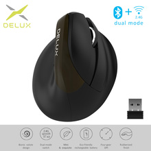 Delux M618Mini Jet Ergonomic Mouse Wireless Vertical Mouse Bluetooth USB 2.4GHz RGB Rechargeable Silent click Mice for Office