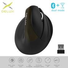 Delux M618Mini Jet Ergonomische Maus Wireless Vertikale Maus Bluetooth USB 2,4 GHz RGB Wiederaufladbare Stille klicken Mäuse für Büro