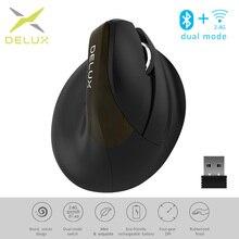 Эргономичная мышь Delux M618Mini Jet, беспроводная Вертикальная мышь, Bluetooth, USB, 2,4 ГГц, перезаряжаемая RGB мышь с тихим кликом для офиса