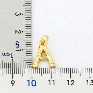 Mode Kleine Größe Gold Gehämmert Metall Bambus 26 Brief Alphabet A-Z Minimalistischen Initial Anhänger Halskette Twist Kette Schmuck