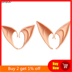 1 Pair Halloween Party Elven Elf Ears Pointed Anime Fairy Cospaly Costumes Vampire Soft Christmas Party Mask
