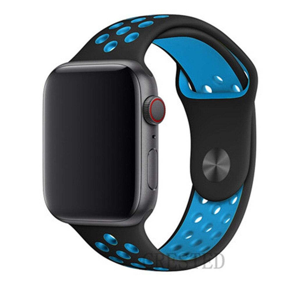 Спортивный ремешок для apple watch band 44 мм/40 мм apple watch 5 4 3 band iwatch band 5 42 мм/38 мм correa браслет ремень аксессуары для часов - Цвет ремешка: Black light blue