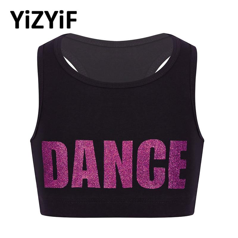 YiZYiF Girls Crop Top Sports Dance Class Cheerleading Tanks Sleeveless Racer Back Shiny Letters DANCE Printed Crop Top Ballet