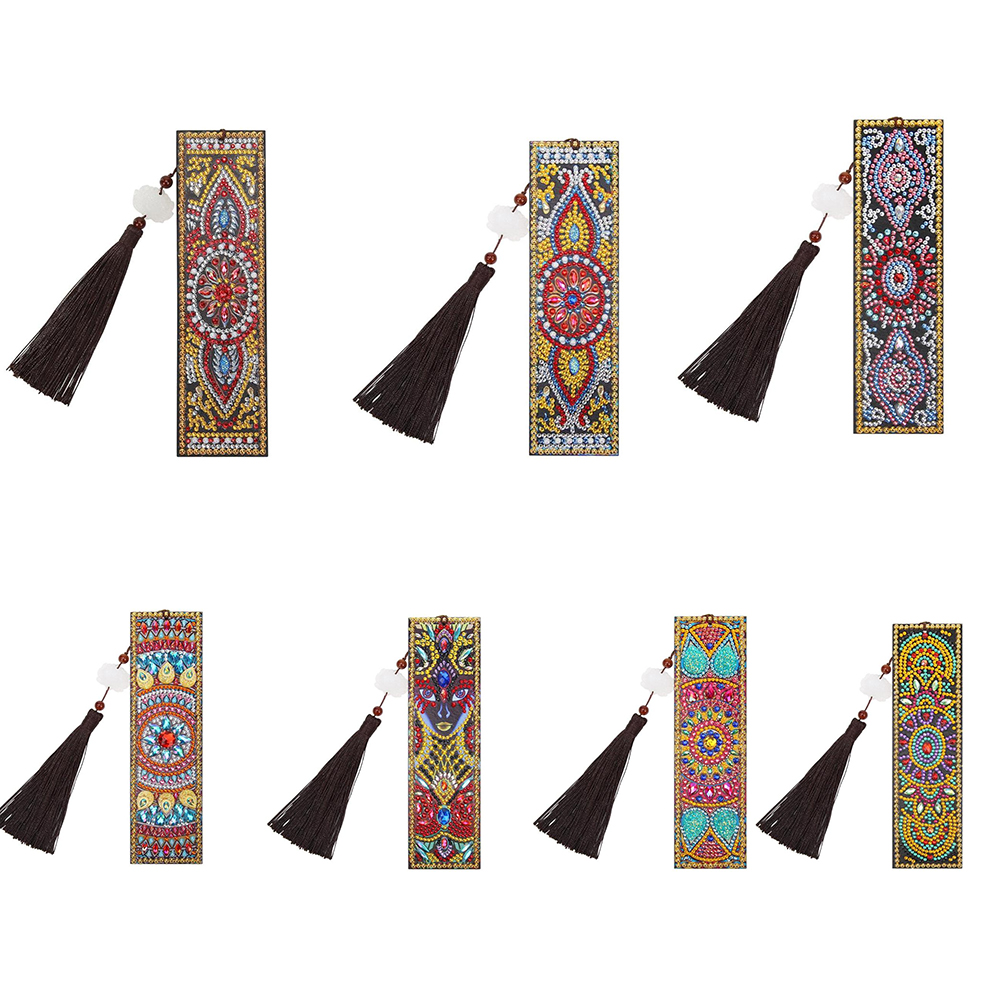 Christmas Gifts DIY Drill Special Shaped Diamond Painting Bookmarks Leather Tassel Embroidery Cross Stitch Bookmark Craft Toys