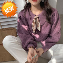 New 2020 Solid Elegant Women Cardigans Korean Fashion Lapel Knitted Women Sweaters Coat Autumn Winter Clothes Female(China)