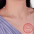 925 Sterling Silber Schmuck 12 Pcs 6mm Perle Box Kette Choker Halskette Kolye Collares Bijoux Femme S-n54
