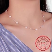 925 Sterling Silver Jewelry 12 Pcs 6mm Pearl Box Chain Choker Necklace Kolye Collares Bijoux Femme S-n54