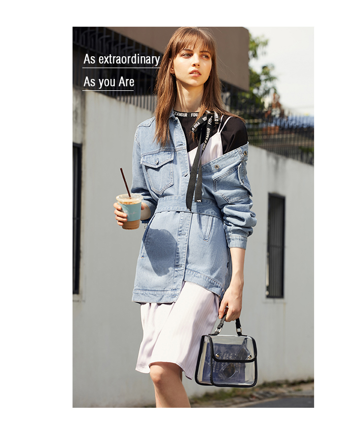 ONLY 19 Women's Loose Fit tie-up Casual Denim Jacket |119154529 11
