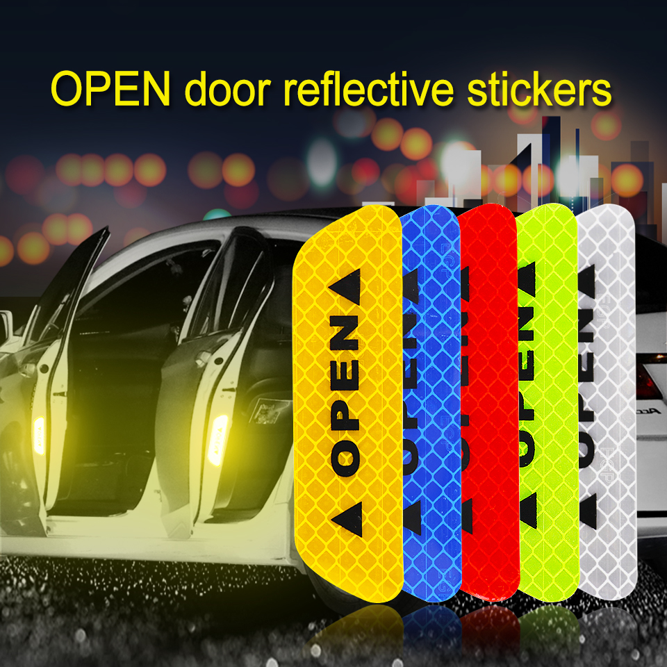 New 2019 Open Car Reflective Strip Warning Sticker For Bus Motorcycle Reflective Waterproof Anti-collision Safety Door Stickers