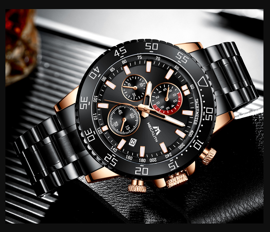 H58422b75779a4d6591a8f9f6ed973a2dF MEGALITH Watches Mens Waterproof Analogue Clock Fashion Stainless Steel Waterproof Luminous Watch Men Sports Relogio Masculino