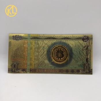 Oferta, 10 unidades por lote, papel de aluminio de Color dorado colorido, un recuerdo de BITCOIN de plástico, billetes para colección y regalos