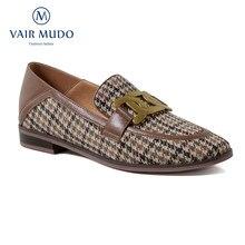 Bombas femininas sapatos de salto baixo preto marrom couro genuíno sapatos casuais alta qualidade primavera outono dedo do pé redondo calçados femininos d123l