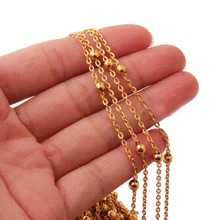 5/10/20/50 meters High Quality Gold Tone Stainless Steel Necklace Flat Curb Cross Chain Beads Balls DIY Fine Jewelry Finding