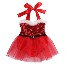 Christmas Newborn Infant Baby Girls Rompers Jumpsuit Tutu Lace Dress Xmas Outfits Costume Princess Baby Girl clothes emmababy cute princess dress newborn toddler baby girls unicorn lace tutu fly sleeve romper jumpsuit fancy dress outfits costume