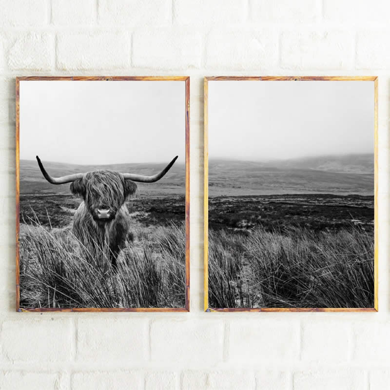 Highland Cow Print And Poster , Farm Animal Wall Art Scottish Cow Canvas Painting Black White Pictures Farmhouse Kitchen Decor image