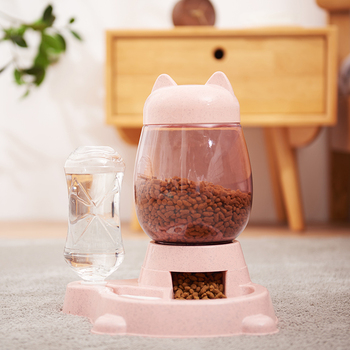 2.2L Pet Dog Cat Automatic Feeder Bowl for Dogs Drinking Water 528ml Bottle  3