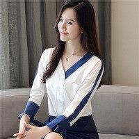 Wl 1764 Long Sleeve White Shirt WOMEN'S Dress V neck Chiffon Blouse Shirt Tops Korean Style Ozhouzhan