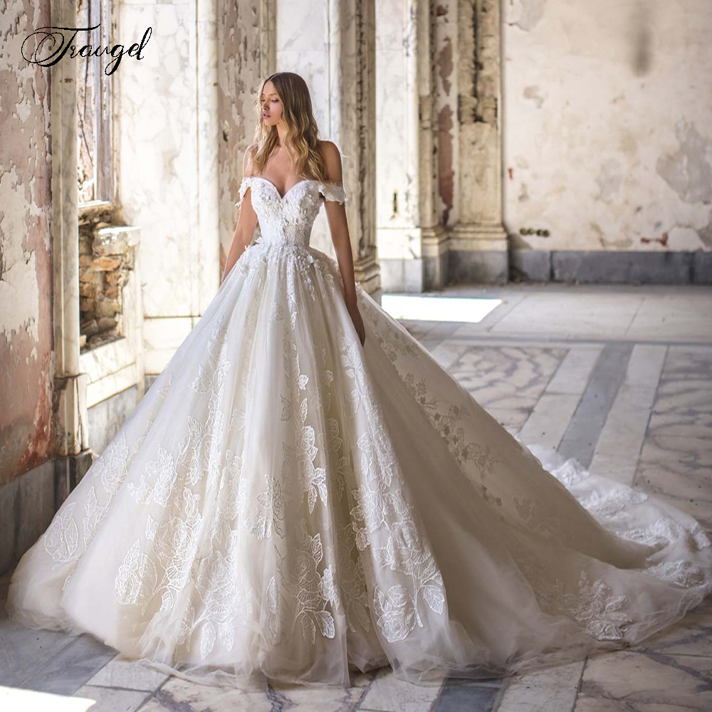 Traugel Sweetheart A Line Lace Wedding Dresses Chic Appliques Off The Shoulder Bride Dress Cathedral Train Bridal Gown Plus Size