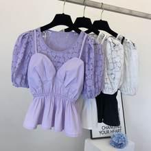 Популярная фиолетовая кружевная рубашка для женщин Новая женская