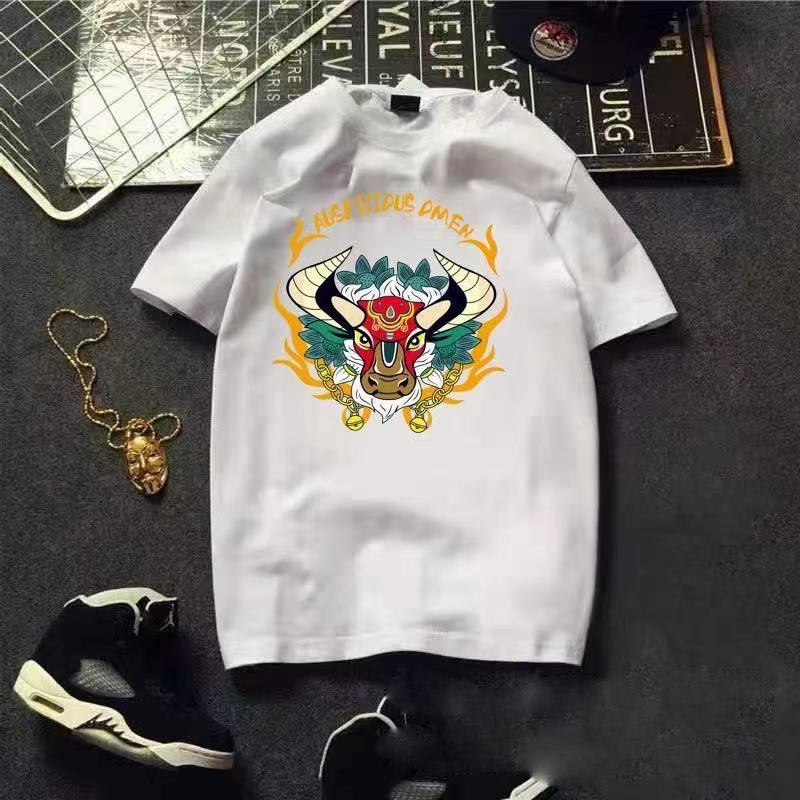 Youth cultural shirt casual white loose short-sleeved ordinary cartoon anime summer t-shirt 180g combed cotton