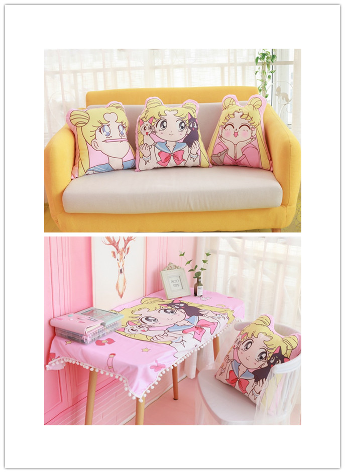 Anime Sailor Moon Cosplay Kawaii Star Moon Space Cosplay Prop Double-sided Printing Pillow Cushion