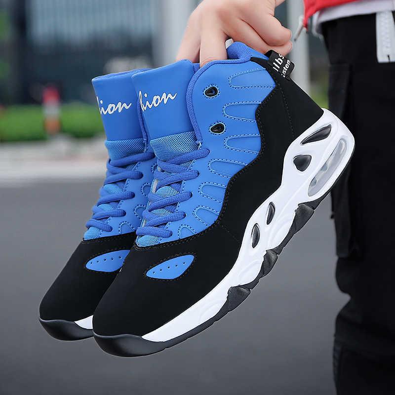 บุรุษบาสเกตบอลรองเท้าผ้าใบ JORDAN Outdoor High-Top รองเท้าบาสเก็ตบอลแฟชั่นผสมสี CUSHIONING รองเท้าผ้าใบกีฬา Unisex รองเท้าใหม่