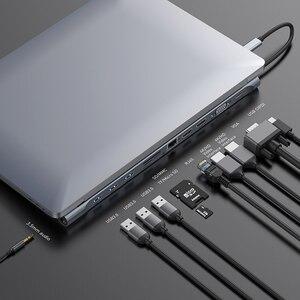 Image 2 - Baseusマルチusb cハブhdmi vga RJ45 3.0 usbハブmacbook proのタイプcハブコンピュータアクセサリー 11 ポートスプリッタusb cハブ